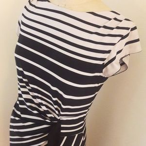 JUST TAYLOR Draped Ombre Stripe Matte Jersey Dress